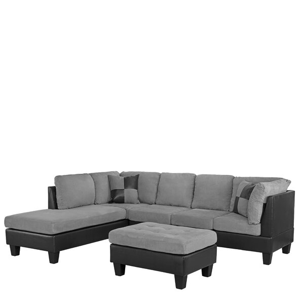 Dehoyos Reversible Sectional with Ottoman by Ebern Designs