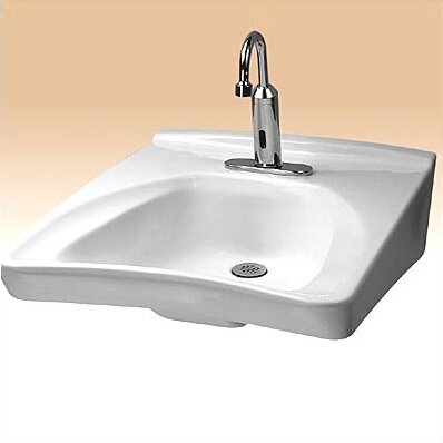 Commercial Vitreous China U-Shaped Centerset Faucet Bathroom Sink
