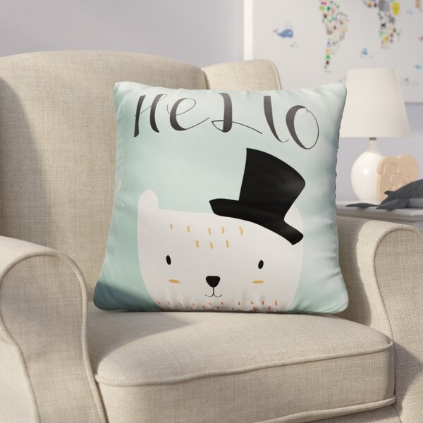 Farranshane Baby Polar Bear with Black Hat Throw Pillow by Harriet Bee
