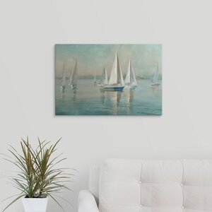 Sailboats at Sunrise by Danhui Nai Painting Print on Wrapped Canvas by Great Big Canvas