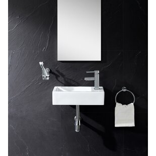 """Ceramic 18"""" Wall Mount Bathroom Sink"""