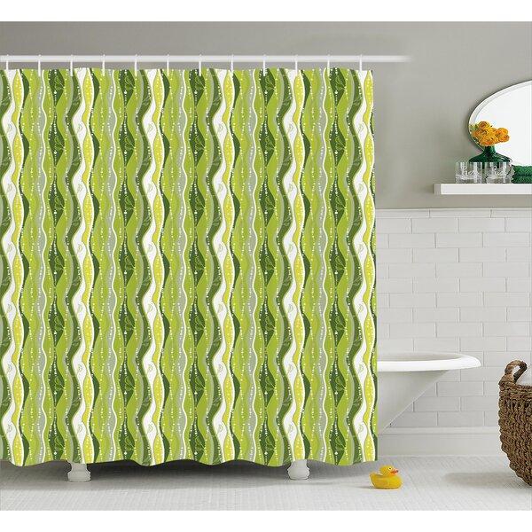 Charlemont Digital Leaf Floral Lines Shower Curtain by George Oliver