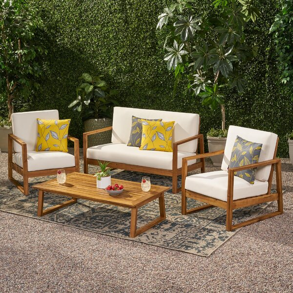 Broaddus Outdoor 4 Piece Sofa Seating Group with Cushions by Corrigan Studio