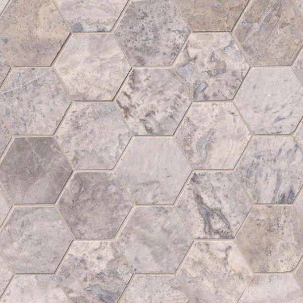 Hexagon 3 x 3 Travertine Tile in Gray by MSI