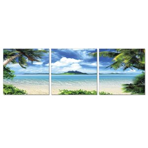 'Coconut Trees and Beach' 3 Piece Photographic Print Wrapped Canvas Set by Highland Dunes
