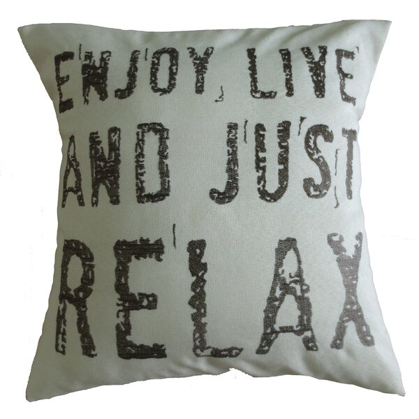 Inspirational Quote Decorative Embroidered Print Burlap Pillow Cover by Violet Linen