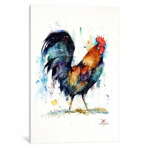 Rooster Painting Print on Wrapped Canvas by August Grove