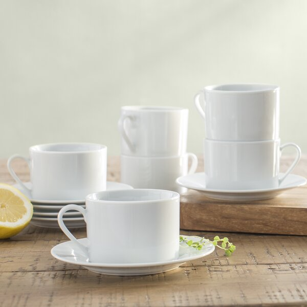 Chretien 8 oz. Teacup and Saucer (Set of 6) by Mint Pantry