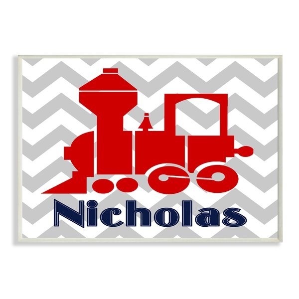 Chevron with Train Personalized Wall Plaque by Stupell Industries