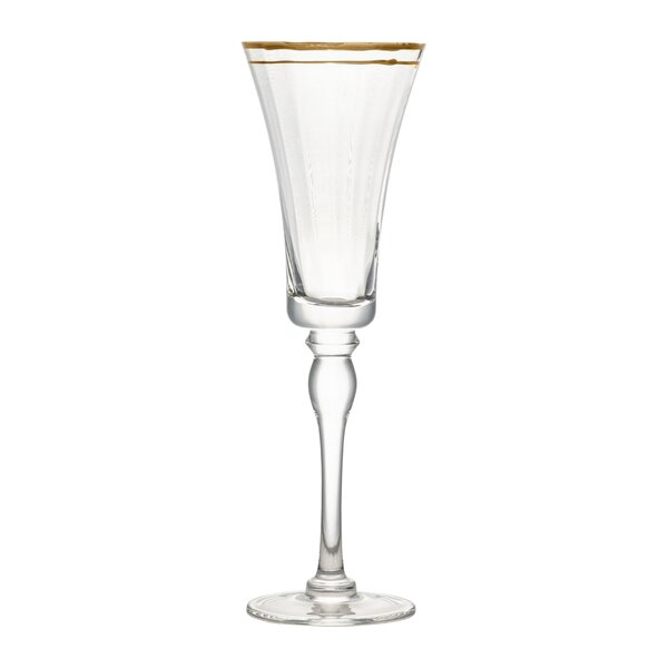 Tayler Rim Glass 12 oz. Champagne Flute (Set of 4) by Charlton Home