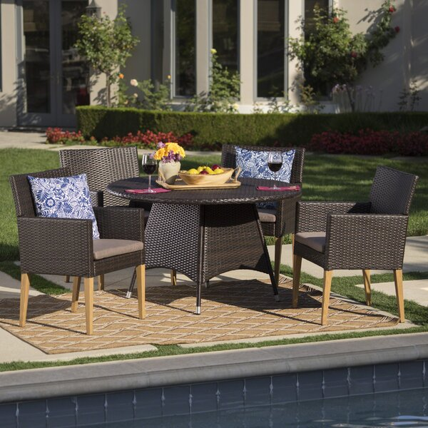 Bo Outdoor Wicker Round 5 Piece Dining Set with Cushions by Mistana
