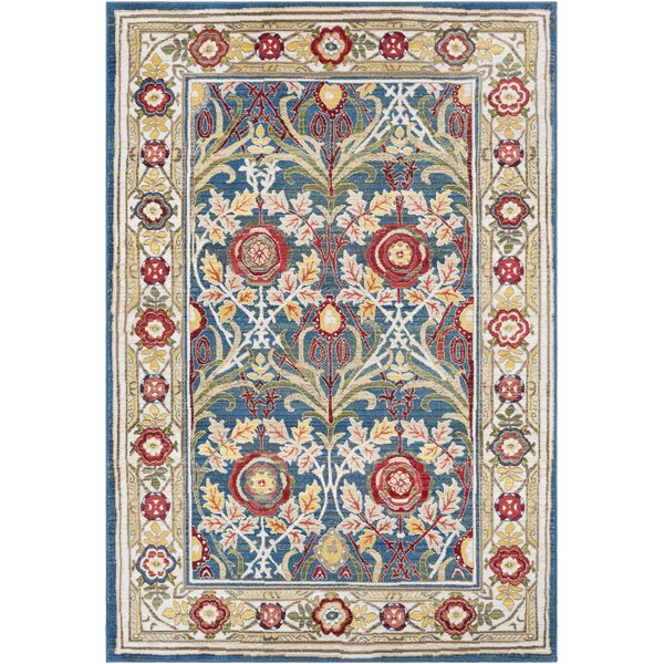 Arbouet Traditional Floral Navy/Cream Area Rug by Charlton Home