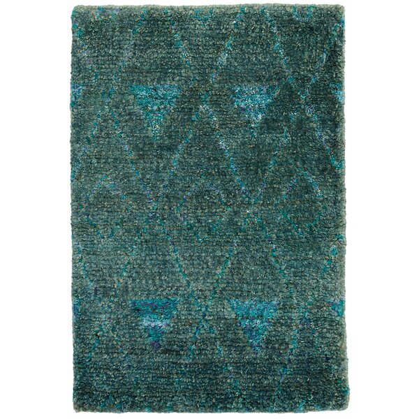 Emerald Hand-Woven Blue Area Rug by Dash and Albert Rugs
