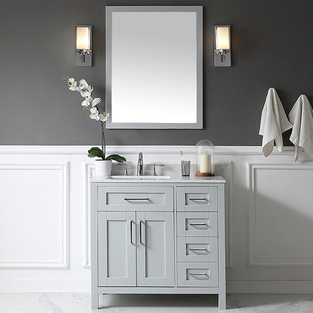 "Bathroom Vanities Set ove decors tahoe 36"" single bathroom vanity set with mirror in"