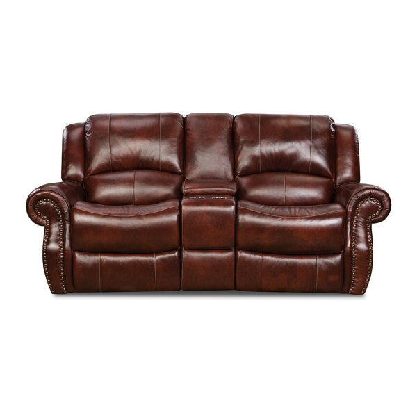 Modern Style Hein Leather Reclining Loveseat by Alcott Hill by Alcott Hill