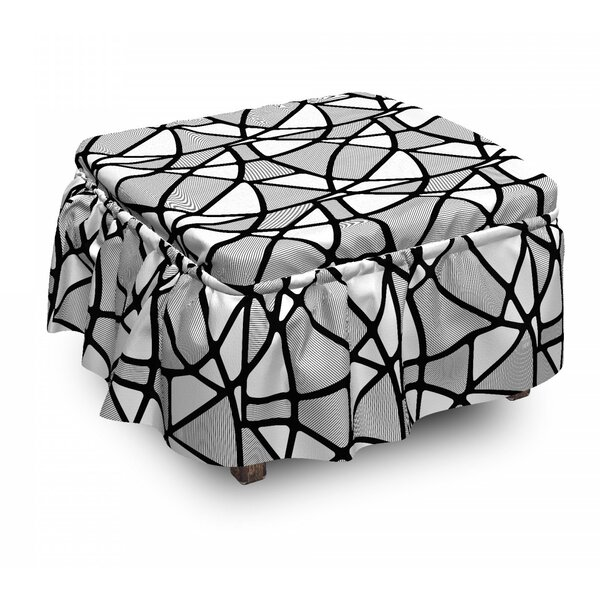 Thick Thin Lines Tile Ottoman Slipcover (Set Of 2) By East Urban Home
