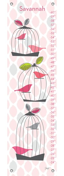 Modern Birdcage - Personalized Canvas Growth Chart by Oopsy Daisy