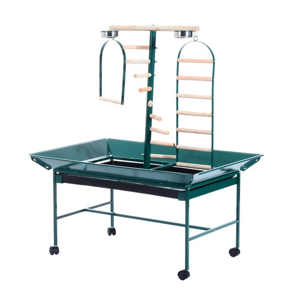 Pegasus Bird Play Stand Parrot Pet Gym Perch with Wheel Bowl Ladder Swing by Tucker Murphy Pet