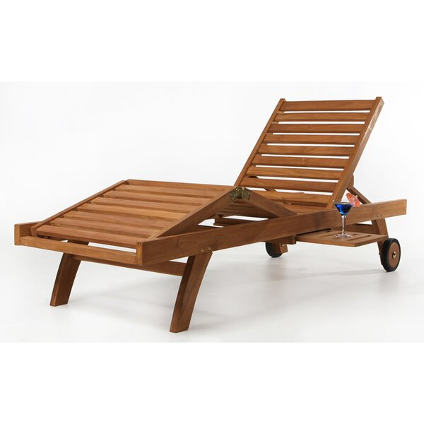 Humphrey Teak Chaise Lounge with Cushion by Longshore Tides