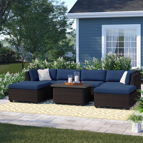 Fernando 7 Piece Sectional Seating Group with Cushions by Sol 72 Outdoor