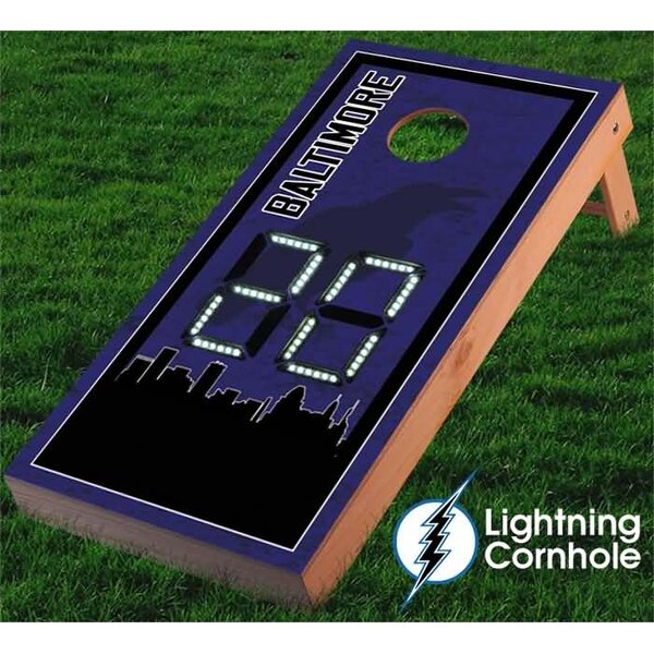 Electronic Scoring Baltimore Skyline Cornhole Board by Lightning Cornhole