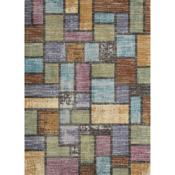Zendejas Distressed Brown/Blue/Purple Area Rug by Latitude Run
