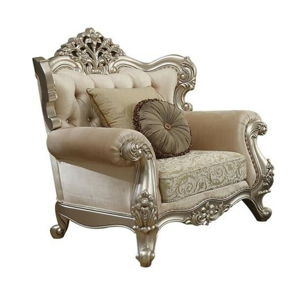 Sturgis Fabric Upholstery Rolled Arm Armchair with 2 Pillows by Astoria Grand