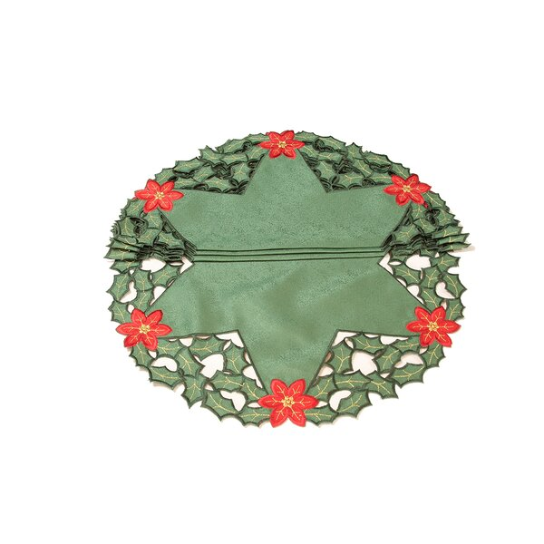 Holly Leaf Poinsettia Embroidered Cutwork Round Holiday Doily (Set of 4) by Xia Home Fashions