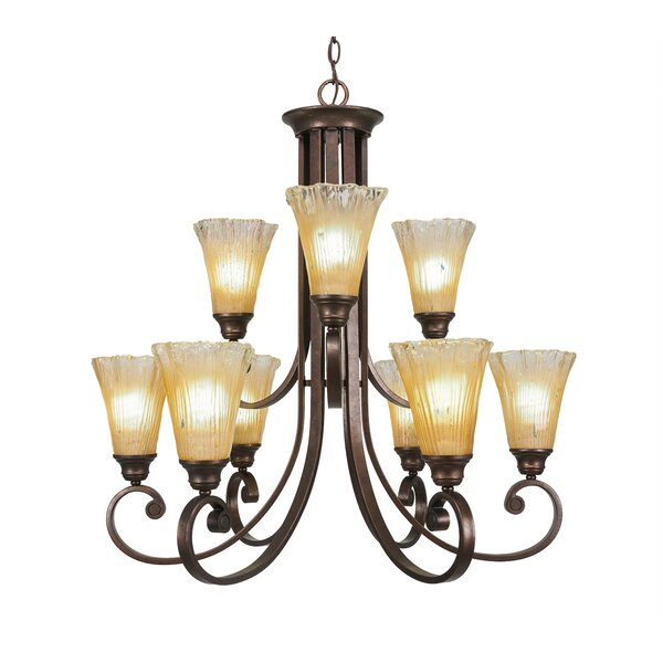 Babin 9-Light Shaded Tiered Chandelier By Fleur De Lis Living