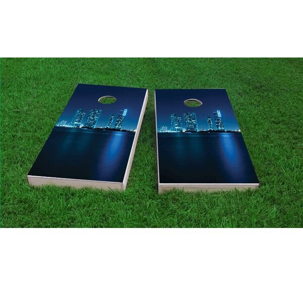 Miami Skyline Light Weight Cornhole Game Set by Custom Cornhole Boards