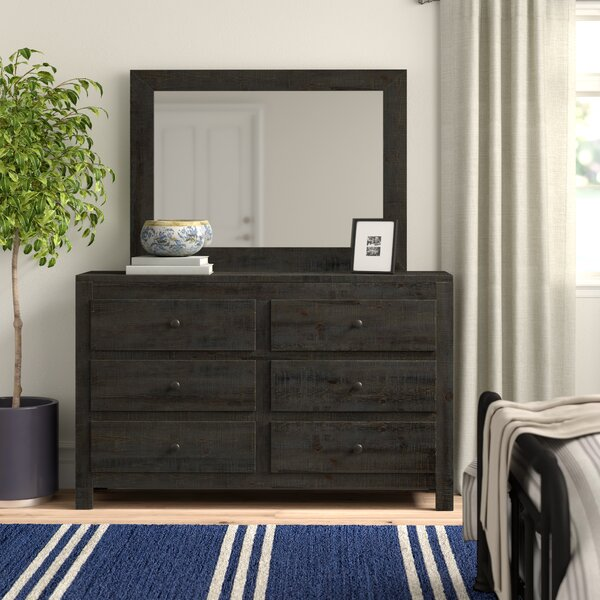 Sedgefield 6 Drawer Double Dresser with Mirror by Three Posts