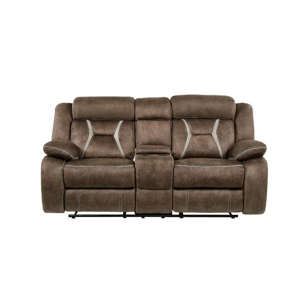 Excellent Quality Gildardo Stitched Fabric Console Reclining Sofa Surprise! 55% Off