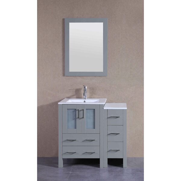 37 Single Bathroom Vanity Set with Mirror by Bosconi