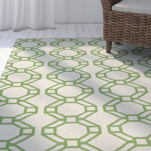 Fowler Cream/Lime Green Indoor/Outdoor Area Rug by Beachcrest Home