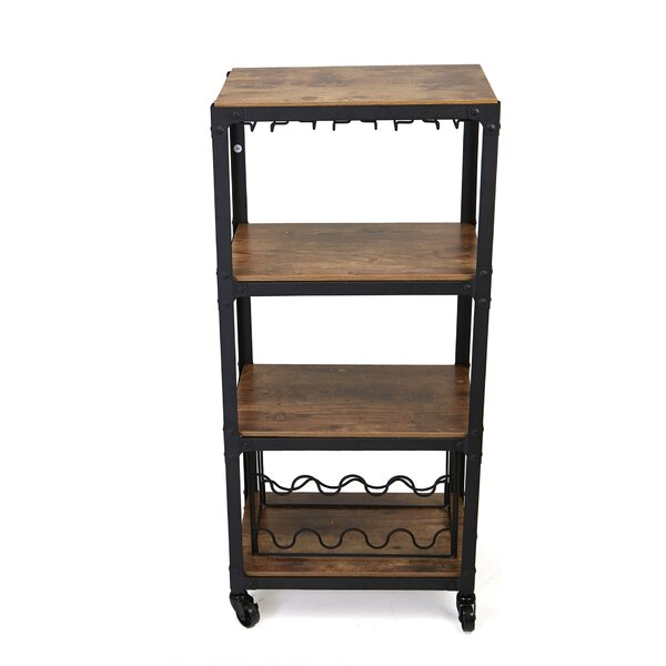 4 Tier Wood and Metal Bar Cart by Mind Reader