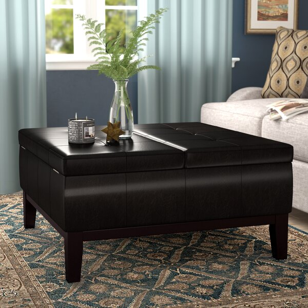 Dover Square Coffee Table Ottoman and Split-Lift Lid by Simpli Home