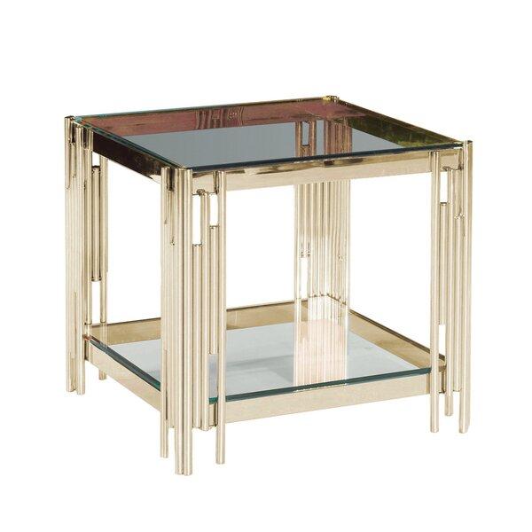 Cleorand 2-Tier Metal/Glass Coffee Table by Orren Ellis