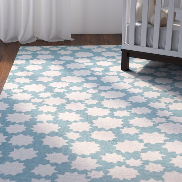Daisy Machine Woven Blue Seas Area Rug by Viv + Rae