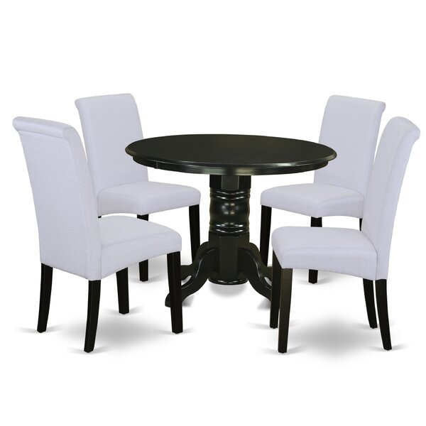 Aleana Small Table 5 Piece Solid Wood Dining Set by Charlton Home