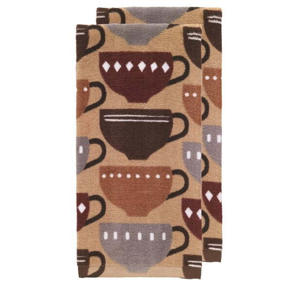 Coffee Fiber Reactive Print Kitchen Dishcloth (Set of 2) by T-fal