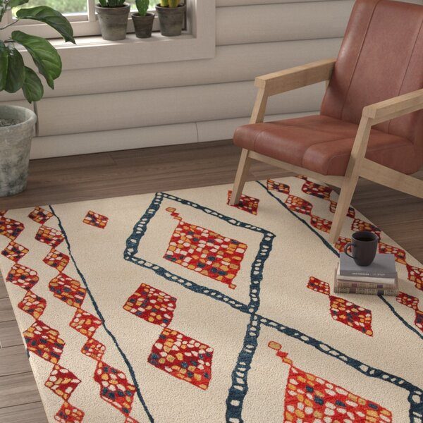 Aldwich Hand-Tufted Beige/Red Area Rug by Loon Peak