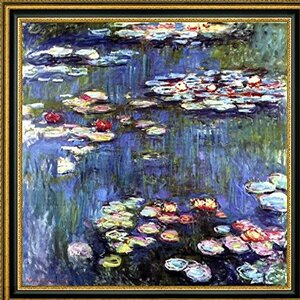 'Water-Lilies' by Claude Monet Framed Painting Print by Canvas Art USA