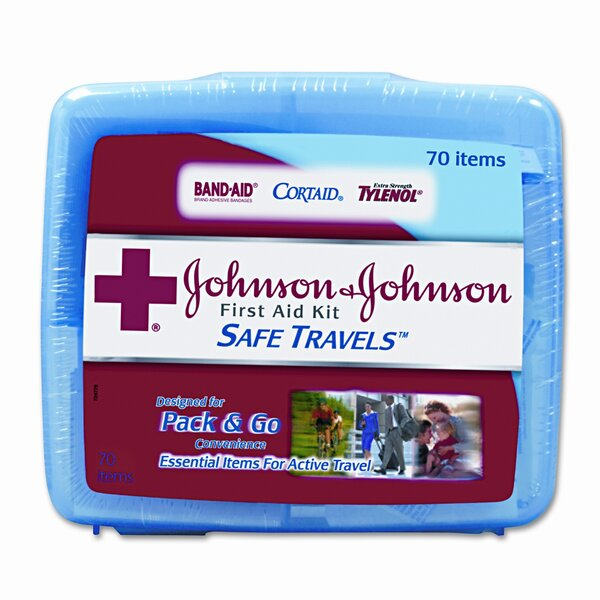 Portable Travel First Aid Kit, 70 Pieces, Plastic Case by Johnson & Johnson