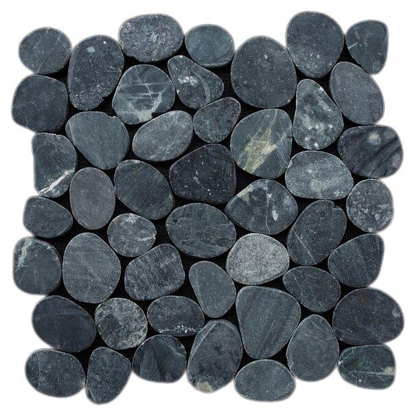 Sliced Random Sized Natural Stone Pebble Tile in Black by Pebble Tile