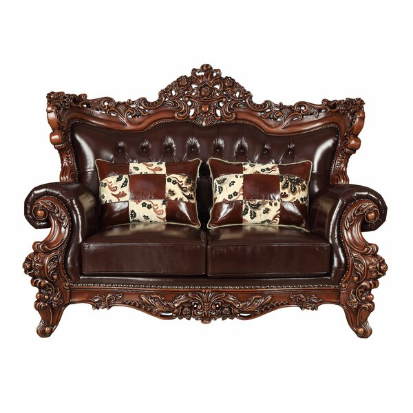 Keagan Leather Loveseat by Astoria Grand