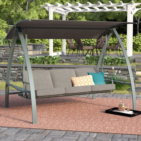 Marquette 3-Seat Daybed Porch Swing with Stand by