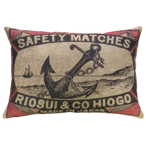 Dall Anchor Linen Throw Pillow by Breakwater Bay