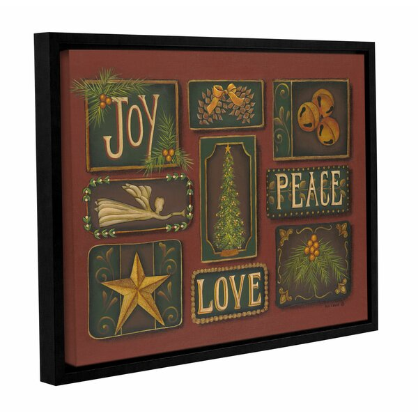 Joy, Peace, Love Framed Textual Art on Wrapped Canvas by The Holiday Aisle