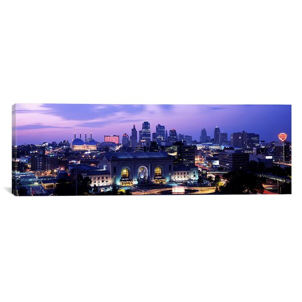 Panoramic Union Station at Sunset with City Skyline in Background, Kansas City, Missouri Photographic Print on Wrapped Canvas by iCanvas