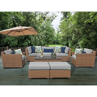 Laguna 8 Piece Rattan Sofa Seating Group with Cushions By Rosecliff Heights